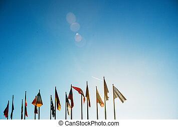 All EU Flags on clear sky
