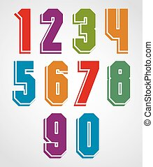 Colorful decorative geometric numbers with white outline.