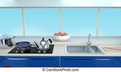 Modern kitchen interior in blue color coordination 3D...