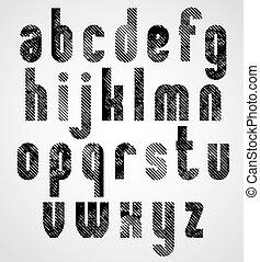 Grunge black grated lower case letters, mystique font on...