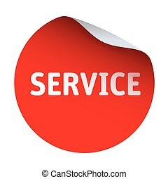 Red vector sticker text Service