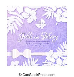 White cutout paper tropical flowers on purple background, wedding card template