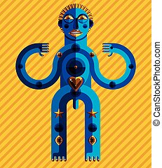 Cubism theme vector graphic illustration, modernistic symbol. Geometric cartoon character, mythic creature or shaman. Colorful drawing of  pagan idol isolated on decorative background with stripes.