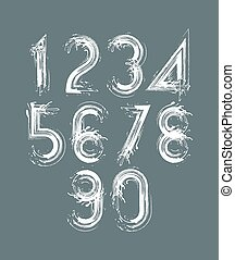 Calligraphic brush numbers on dark background, hand-painted...