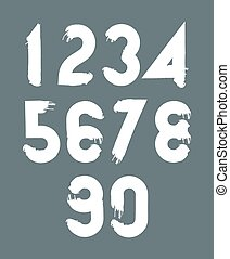 White handwritten numbers, vector doodle brushed figures,...