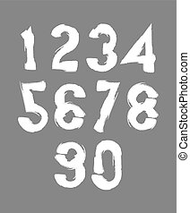 Calligraphic numbers drawn with ink brush, white vector...