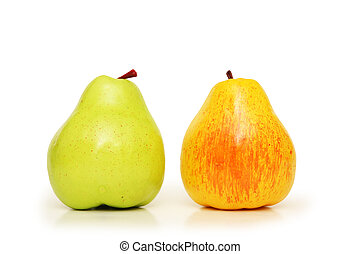 Two pears on white
