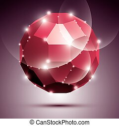 Party dimensional red sparkling disco ball. Vector abstract gala illustration - eps10 treasure. Celebration theme.