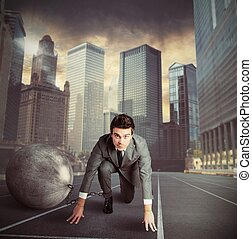 Weight of disadvantage - Man stuck in a challenge by an...