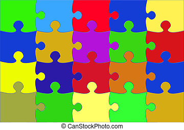 Illustration with the multi coloured puzzle elements