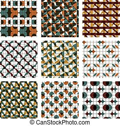 Set of colored grate seamless patterns with parallel lines,...