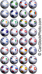 Soccer balls with all flags of South Africa World Cup competitors