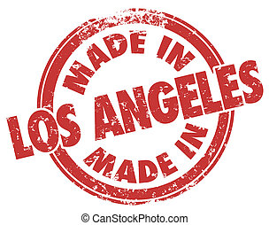 Made in Los Angeles Words Stamp Red Grunge Style LA...