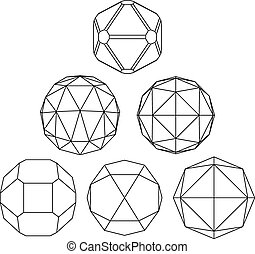 Collection of 6 black and white complex dimensional spheres and abstract geometric figures. Set of fractal 3D monochrome symbolic objects. Structural vector symbols.