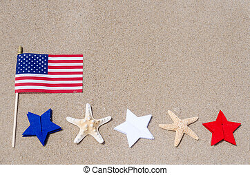 Amrican flag with starfishes on the sandy beach - Amrican...