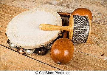 pequeno, percussão, instrumento