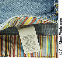 Clothing label with laundry care on jeans