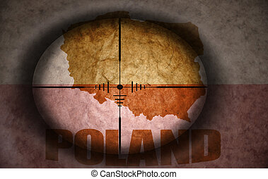 sniper scope aimed at the vintage polish flag and map