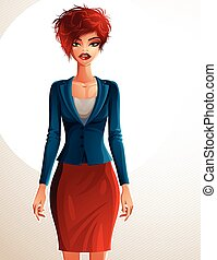 Beautiful coquette business lady illustration, full body portrait of a sexy slim red-haired female holding her hands on a waist. People expression of a young pretty woman.