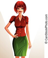 Beautiful coquette smiling lady illustration, full body portrait of a sexy slim red-haired female holding her hand on a waist. People expression of a young pretty woman.