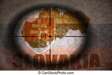 sniper scope aimed at the vintage slovakia flag and map