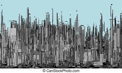 Futuristic Megalopolis City Of Skyscrapers Animation
