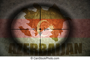 sniper scope aimed at the vintage  azerbaijani flag and map