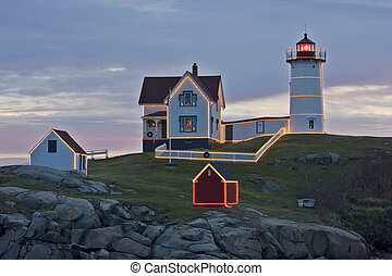 Nubble Lighthouse decorated for christmas