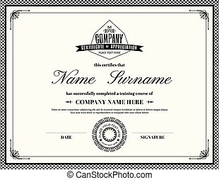Retro frame certificate of appreciation template - Retro...