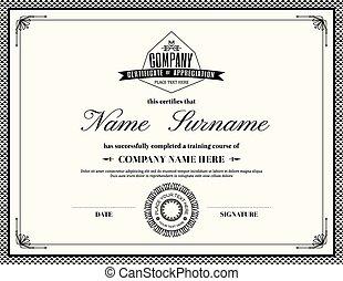 Retro frame certificate of appreciation template - Retro...