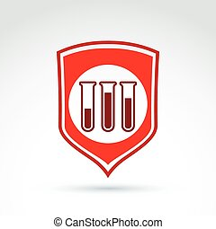 Vector illustration of a red shield symbol and test tubes with a blood sample. Medical cardiology label, blood donation symbol. Life insurance.
