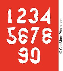 Handwritten white vector numbers isolated on red background,...