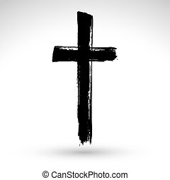 Hand drawn black grunge cross icon, simple Christian cross...