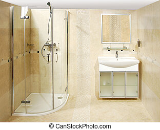 The luxury bathroom with the shower