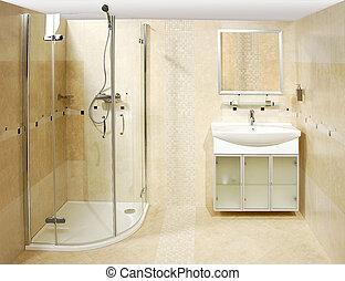 a, luxo, banheiro
