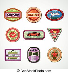 Set of embroidered emblems-chevrons