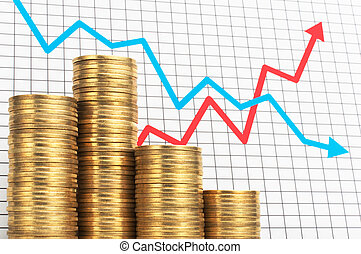 Pile of coins and chart. Success and failure of investment....