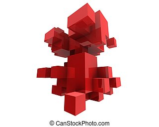 red cubes - 3d rendered illustration of abstract cubes
