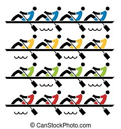 Rowing race - Four rowing teams stylized vector illustration...