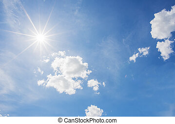 Blue sky and cloud with bright sun