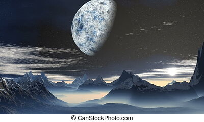The planet and sunrise over the mou - Sharp mountain peaks...