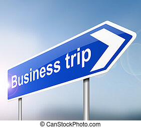 Business trip concept - Illustration depicting a sign with a...