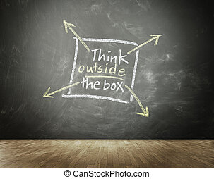 Think Outside The Box concept with a hand-drawn square box...