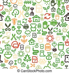 seamless garden icons background - seamless background with...