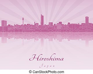 Hiroshima skyline in purple radiant orchid in editable...