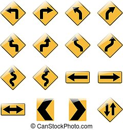 Set of yellow road traffic signs. Vector