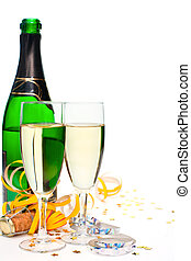 New Year champagne - Two glasses of champagne with ribbons...