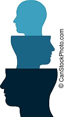 Head out of a head - Conceptual vector illustration of the...
