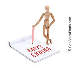 Wooden mannequin writing in scrapbook - Happy ending -...