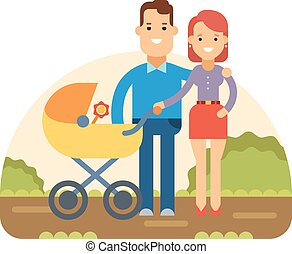 Happy Young Family with Baby in Stroller